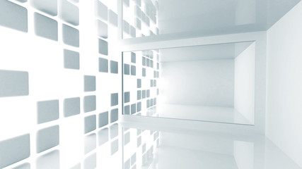 Abstract architecture, empty white modern room interior