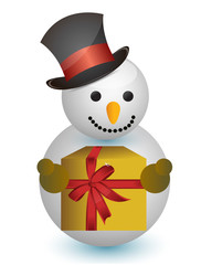 snowman with hat and gift