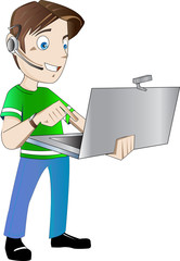 Operator working in a call center