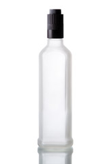 bottle iced of vodka with shadow isolated on white background