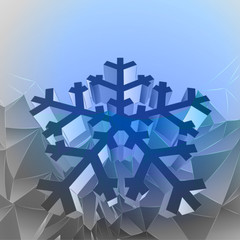 three dimensional magic blue mountain card with snowflake vector