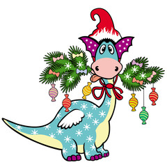 cartoon christmas dragon