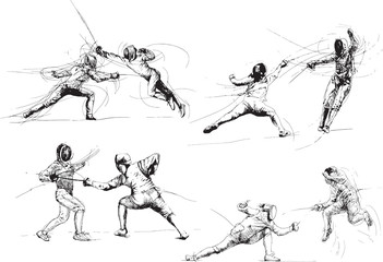 Fencing. Hand drawings into vector collection