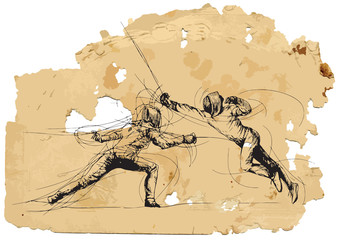 Fencing. Hand drawing into vector