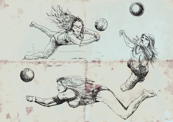 Volleyball players. Collection of hand drawings