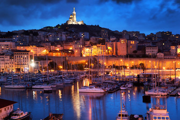 Wall Mural - Marseille, France panorama at night, the harbour.