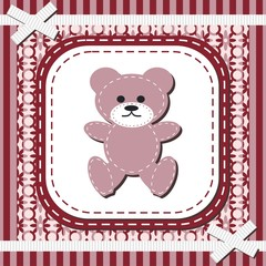 frame with lace and teddy bear