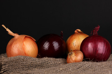 Ripe onions on sacking on wooden table on black background
