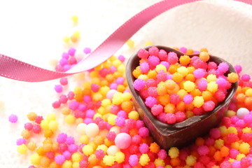 close up of heart shape candy for valentine's day image