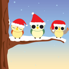 Vector Owls at Christmas