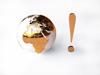 Globalization Concept  with Golden Globe in 3D