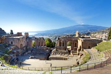 Ancient greek roman theater in Taormina - Sicily Wall mural