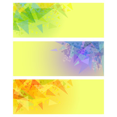 Vector abstract yellow banners with triangles