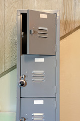 Locker room doors with  a lock