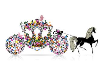 Printed roller blinds Floral woman vintage floral carriage