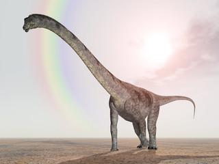 Dinosaurier Puertasaurus mit Regenbogen