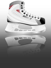 Ice hockey skate illustration mirrored on gradient background