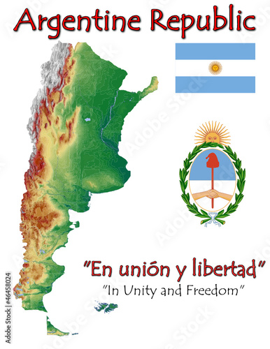 Argentina National Emblem Map Symbol Motto Stock Image And Royalty