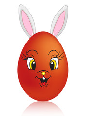 roter Osterei-Hase
