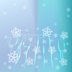 abstract blue curly lines with falling snow card vector template