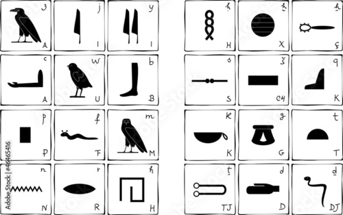 Egyptian hieroglyphic alphabet stock image and royalty free vector egyptian hieroglyphic alphabet thecheapjerseys Gallery