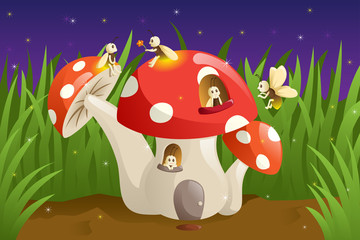 Mushroom house with fireflies