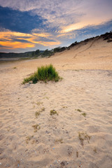 Landscape of dunes with lake at sunset