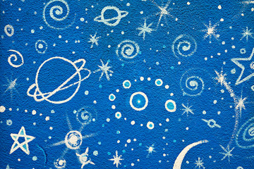 Blue grafitti of the stars and planets