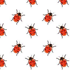 Vector red ladybird seamless pattern