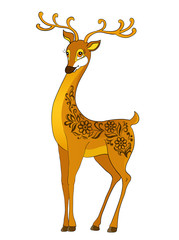 deer cartoon, with floral abstract