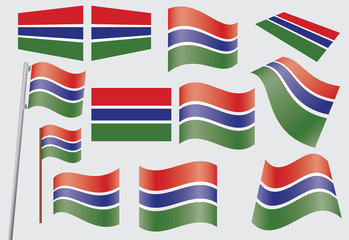 set of flags of Gambia vector illustration