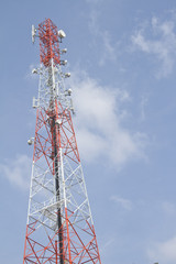 Tower for communications with telecommunications antennas