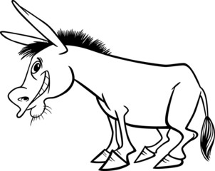 Cartoon donkey for coloring book