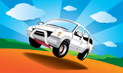 Wall Murals Cars Vector car in the road