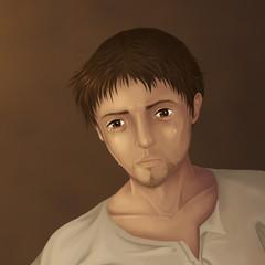 Traurige, gläserne Augen eines Mannes