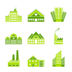 Set of green ecology factory icons