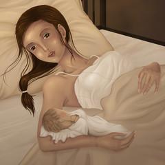 Mutterglück Geburt Baby