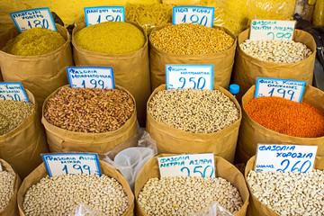 Legumes on a market