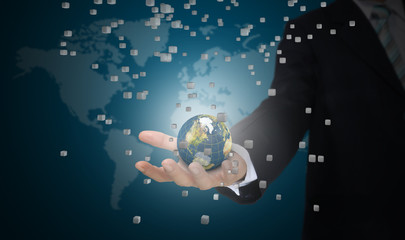 Hand of Business man earth globe