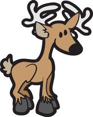 Isolated cartoon deer standing tall