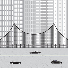 Cityscape with highway, cars, bridge and skyscraper.