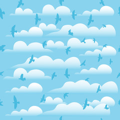 Flying birds on cloud blue sky, seamless vector background.