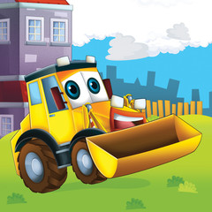Printed roller blinds Cars The happy tractor - illustration for the children