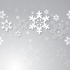 Christmas background with 3d snowflakes.
