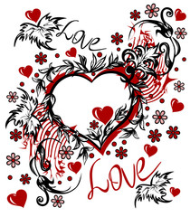 Valentine s Day card in the style of abstract floral pattern