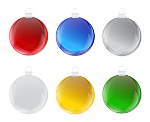 Set of colorful christmas bulb with glass effect Vector