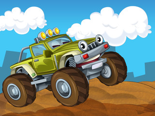 Printed roller blinds Cars The off road cartoon car - illustration for the children