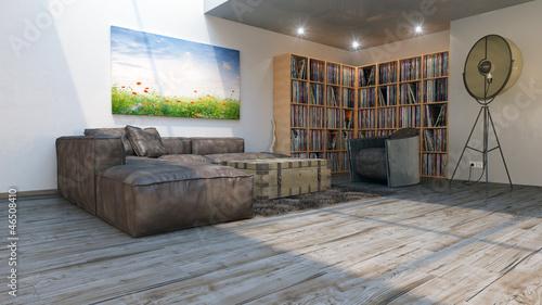 galerie wohnung mit vinyl plattenregalen und wandbild 3d On galeriewohnung bilder