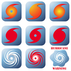 Hurricane icons set on white