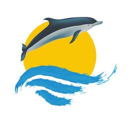 Photo sur Aluminium Dauphins Dolphin vector illustration, isolated logo on white